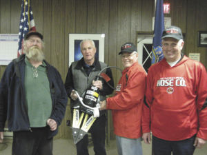 (left to right) town supervisor Stephen Walker, Hose #1 president Greg Thorp, Hose #1 first assistant chief Garry Tompkins and Hose #1 fire chief Michael Scarey.  Photo Credit: Windham Journal